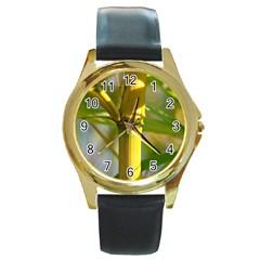 Bamboo Round Metal Watch (gold Rim)  by Siebenhuehner