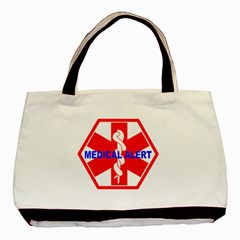 Medical Alert Health Identification Sign Twin Sided Black Tote Bag by youshidesign