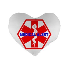 Medical Alert Health Identification Sign 16  Premium Heart Shape Cushion  by youshidesign