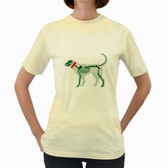 Dog Anatomy X Ray  Womens  T Shirt (yellow) by Contest1736797