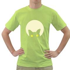 Cat Feline Head Mens  T Shirt (green) by Contest1736797