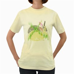 No Rabbits And  Bunnys Around   Womens  T Shirt (yellow) by Contest1736797