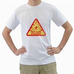 Not Safe Anywhere Mens  T Shirt (white) by Contest1732250