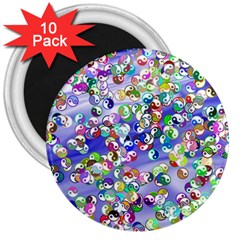 Ying Yang 3  Button Magnet (10 Pack) by Siebenhuehner