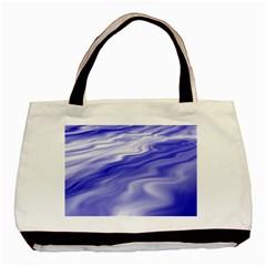 Wave Twin Sided Black Tote Bag by Siebenhuehner