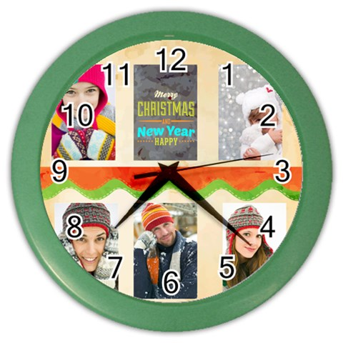 Christmas By Merry Christmas   Color Wall Clock   T6p0thrxy23z   Www Artscow Com Front