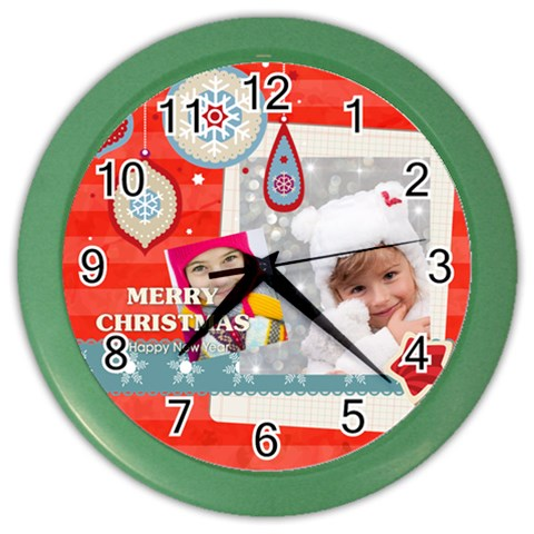 Christmas By Merry Christmas   Color Wall Clock   05xty7sqgpxf   Www Artscow Com Front
