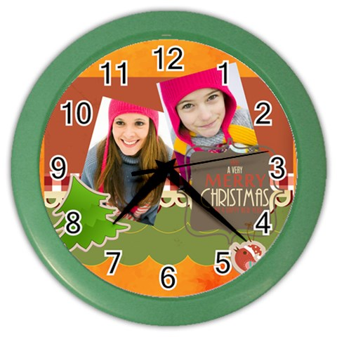 Christmas By Merry Christmas   Color Wall Clock   79nn1m8rncwf   Www Artscow Com Front