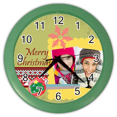 Christmas By Merry Christmas   Color Wall Clock   85nbnkycrp3v   Www Artscow Com Front
