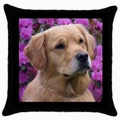 golden retriever Throw Pillow Case (Black) by whizzleswonders
