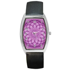 Spirograph Tonneau Leather Watch by Siebenhuehner