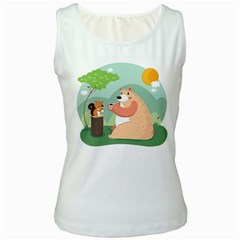 Tea Time Womens  Tank Top (white) by Mjdaluz
