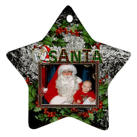 Santa Star Ornament (1 Sided) By Lil    Ornament (star)   M53v8g7ctoog   Www Artscow Com Front