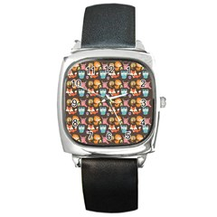 Woodland Animals Square Leather Watch