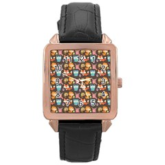 Woodland Animals Rose Gold Leather Watch