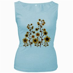 Sunflower Cheers Womens  Tank Top (baby Blue) by doodlelabel