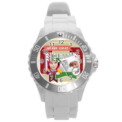 Xmas By Merry Christmas   Round Plastic Sport Watch (l)   Mjx6mmiamoii   Www Artscow Com Front