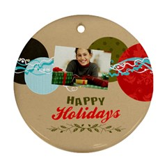 Merry Christmas By Merry Christmas   Round Ornament (two Sides)   L46qzooufmdb   Www Artscow Com Front