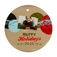 Merry Christmas By Merry Christmas   Round Ornament (two Sides)   L46qzooufmdb   Www Artscow Com Back