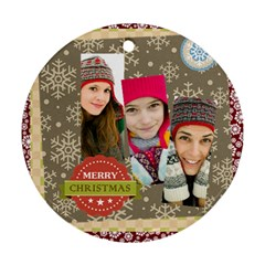 Merry Christmas By Merry Christmas   Round Ornament (two Sides)   312b31aayjgh   Www Artscow Com Front