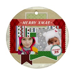 Merry Christmas By Merry Christmas   Round Ornament (two Sides)   X4kkbhldp78h   Www Artscow Com Back