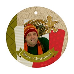 Merry Christmas By Merry Christmas   Round Ornament (two Sides)   Hoqpk33oc15u   Www Artscow Com Front