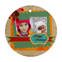 Merry Christmas By Merry Christmas   Round Ornament (two Sides)   Wloa48y5ehf7   Www Artscow Com Front