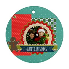 Merry Christmas By Merry Christmas   Round Ornament (two Sides)   Tb9g933z9jmk   Www Artscow Com Front