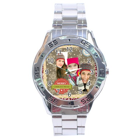 Merrry Christmas By Merry Christmas   Stainless Steel Analogue Watch   Ytgzo8o96lk3   Www Artscow Com Front