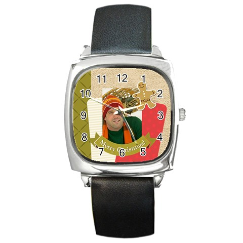 Merrry Christmas By Merry Christmas   Square Metal Watch   Biizhtodttw1   Www Artscow Com Front