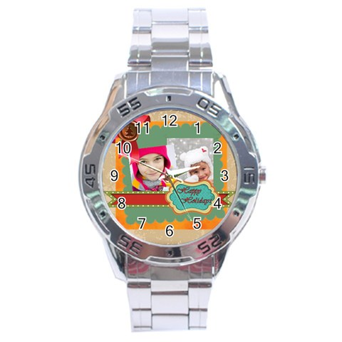 Merrry Christmas By Merry Christmas   Stainless Steel Analogue Watch   8ohp9vwu1akd   Www Artscow Com Front