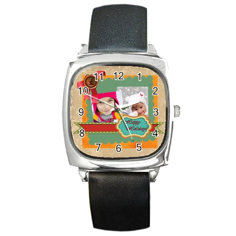 Merrry Christmas By Merry Christmas   Square Metal Watch   Wpg2lm03q3hj   Www Artscow Com Front