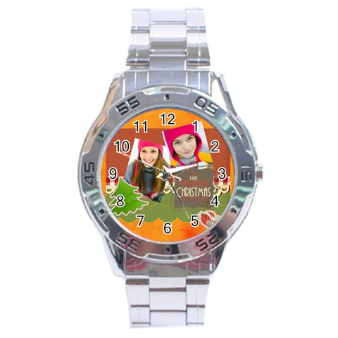 Merrry Christmas By Merry Christmas   Stainless Steel Analogue Watch   4a2ocjayy4wv   Www Artscow Com Front
