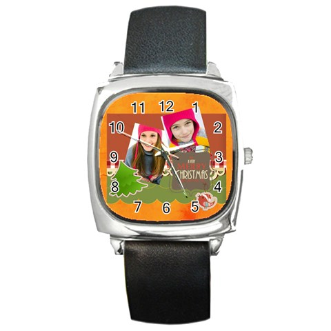 Merrry Christmas By Merry Christmas   Square Metal Watch   77og9buyjcha   Www Artscow Com Front