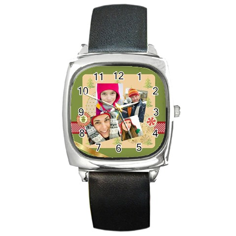 Merrry Christmas By Merry Christmas   Square Metal Watch   P2beogg9mv0r   Www Artscow Com Front