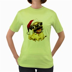 Pug Womens  T-shirt (Green) by Contest1706914