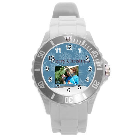 Merry Christmas By M Jan   Round Plastic Sport Watch (l)   E8bsdbugkn4i   Www Artscow Com Front