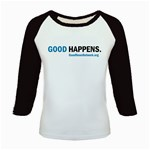 Kids  Good Happens Baseball Jersey (blue, red, pink or black sleeves)