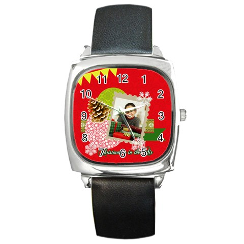 Merrry Christmas By Merry Christmas   Square Metal Watch   0mopdntz1aba   Www Artscow Com Front
