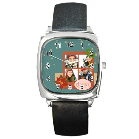 Merrry Christmas By Merry Christmas   Square Metal Watch   5sph5pnexv0m   Www Artscow Com Front