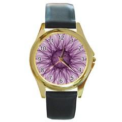 Mandala Round Metal Watch (gold Rim)  by Siebenhuehner