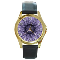 Mandala Round Metal Watch (gold Rim)  by Siebenhuehner