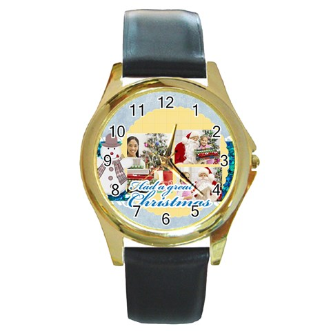 Merry Christmas By Merry Christmas   Round Gold Metal Watch   Gwc6vmbeazv5   Www Artscow Com Front