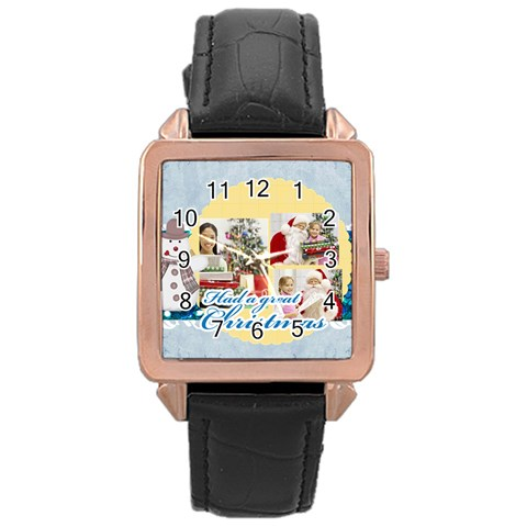 Merry Christmas By Merry Christmas   Rose Gold Leather Watch    Qi07qc98vbve   Www Artscow Com Front
