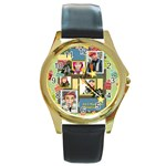 merry christmas - Round Gold Metal Watch