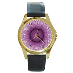 Spirograph Round Metal Watch (gold Rim)  by Siebenhuehner