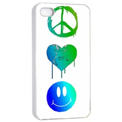 Peace Love And Happiness Apple Iphone 4/4s Seamless Case (white) by TheTalkingDead
