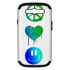 Peace Love And Happiness Samsung Galaxy S Iii Hardshell Case (pc+silicone) by TheTalkingDead