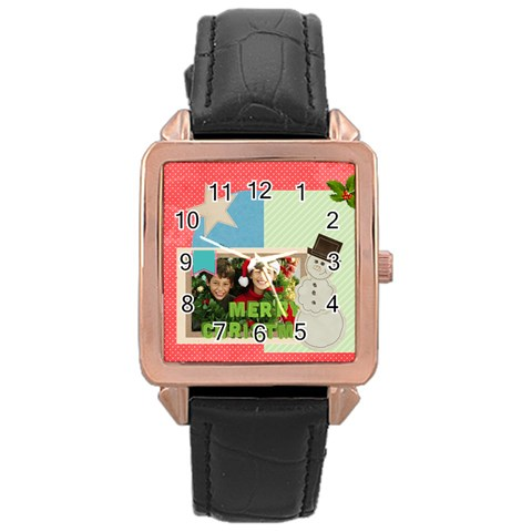 Merry Christmas By Merry Christmas   Rose Gold Leather Watch    Vxk9ydwve392   Www Artscow Com Front