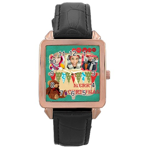 Merry Christmas By Merry Christmas   Rose Gold Leather Watch    S8062idgoltu   Www Artscow Com Front